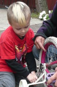 anthony fixing a bike